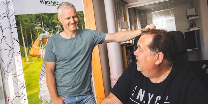 nicklas boström vd och patric hörnsten nilsson grundare av watchitgolf i Örnsköldsvik.