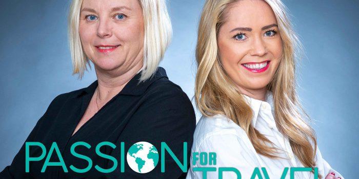 """PODD: Lena Mägiste och Charlotte Lundquist ligger bakom nya resepodden """"Passion for Travel"""". Foto: Pressbild/ Ewa Malmsten Nordell, Fotofralla, Logotyp/Joanna Wallén, Wallen Design"""