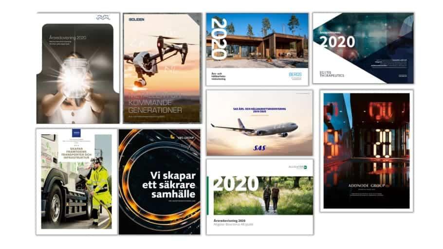 Nio företag är nominerade till Sveriges Bästa Årsredovisning, tre i klassen stora bolag, tre i mellanstora bolag och tre i små bolag som är noterade på Nasdaq Stockholm.